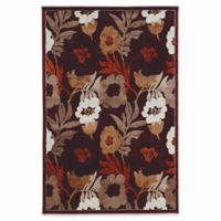 Linon Home Plateau Floral 2' x 3' Power-Loomed Accent Rug in Brown/Red
