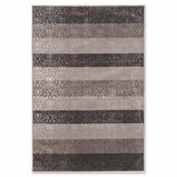 Linon Home Charisma Damask Stripes 5' x 7'6 Power-Loomed Area Rug in Grey