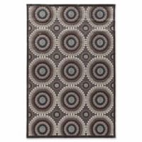Linon Home Plateau Cylinder 5' x 8' Power-Loomed Area Rug in Blue