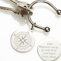 Compass Inspired Silver-Plated Keyring