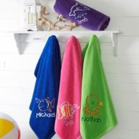 Go Fish! Embroidered 36-Inch X 72-Inch Beach Towels
