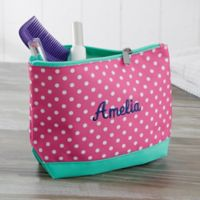 Pink Polka Dot Embroidered Cosmetic Bag