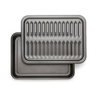 T-Fal® Nonstick 17-Inch x 12.6-Inch 2-Piece Broiler Pan Set in Grey