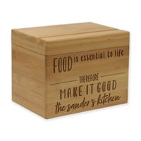 """Food is Essential"" Bamboo Recipe Box"