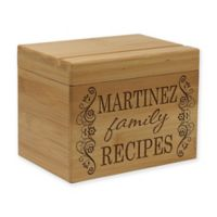 Scroll Family Recipes Bamboo Recipe Box