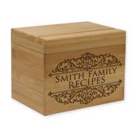 Regal Scroll Inscription Bamboo Recipe Box