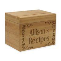 Scroll Pattern Bamboo Recipe Box