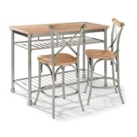 Home Styles French Quarter Butcher Block Top Kitchen Island with 2 Stools