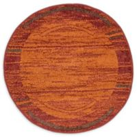 Unique Loom Harvest Foilage 3' Round Powerloomed Area Rug in Terracotta/brown