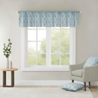 Madison Park Delray Printed Diamond Valance in Blue