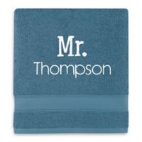 Wamsutta® Personalized Hygro® Mr. & Mrs. Duet Bath Towel in Teal