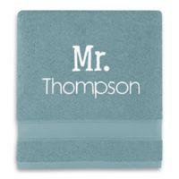 Wamsutta® Personalized Hygro® Mr. & Mrs. Duet Bath Towel in Cameo Blue