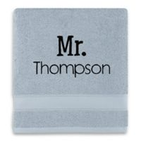 Wamsutta® Personalized Hygro® Mr. & Mrs. Duet Bath Towel in Glacier