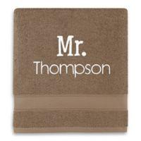 Wamsutta® Personalized Hygro® Mr. & Mrs. Duet Bath Towel in Latte