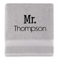 Wamsutta® Personalized Hygro® Mr. & Mrs. Duet Bath Towel in Chrome