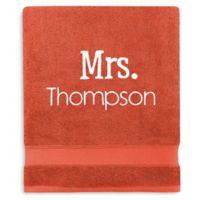 Wamsutta® Personalized Hygro® Mr. & Mrs. Duet Bath Sheet in Paprika