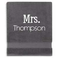 Wamsutta® Personalized Hygro® Mr. & Mrs. Duet Bath Sheet in Iron
