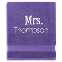 Wamsutta® Personalized Hygro® Mr. & Mrs. Duet Bath Sheet in Grape