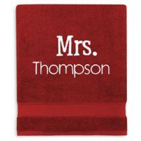 Wamsutta® Personalized Hygro® Mr. & Mrs. Duet Bath Sheet in Wine