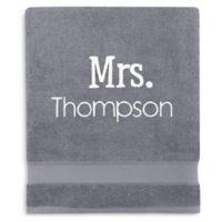 Wamsutta® Personalized Hygro® Mr. & Mrs. Duet Bath Sheet in Pewter