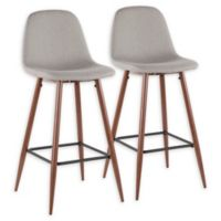 "Lumisource® Polyester Upholstered Pebble 39.25"" Bar Stools in Light Grey (Set of 2)"