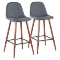 """Lumisource® Polyester Upholstered Pebble 39.25"""" Bar Stools in Blue (Set of 2)"""