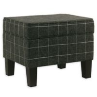 Homepop™ Polyester Upholstered Ottoman in Black