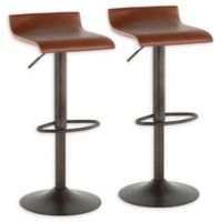 """Lumisource® Faux Leather Swivel Ale 34"""" Bar Stools in Brown (Set of 2)"""