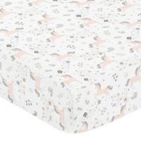 Sweet Jojo Designs Unicorn Fitted Crib Sheet in Pink