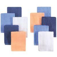 Little Treasures 10-Pack Luxurious Washcloths in Blue/Orange