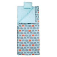 Wildkin 3-Piece Elephants Sleeping Bag Set in Light Blue