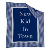 """New Kid in Town"" Baby Blanket in Royal/White"