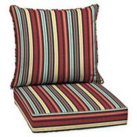 Abella Stripe 2-Piece Outdoor Deep Seat Cushion Set in Ruby
