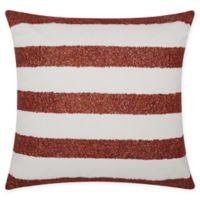 Mina Victory Beaded Stripes Indoor/Outdoor Square Throw Pillow in Red/White