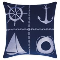 Mina Victory Nautical Grid Indoor/Outdoor Square Throw Pillow in Navy/White