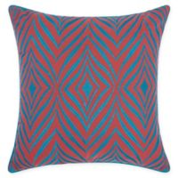 Mina Victory Chevron Indoor/Outdoor Square Throw Pillow in Coral/Turquoise
