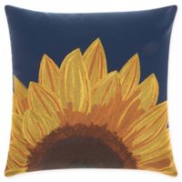 Mina Victory Sunflower Indoor/Outdoor Square Throw Pillow in Navy