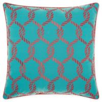 Mina Victory Ropes Square Outdoor Throw Pillow in Turquoise/Coral