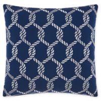 Mina Victory Ropes Square Outdoor Throw Pillow in Navy/White