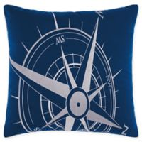 Mina Victory Compass Indoor/Outdoor Square Throw Pillow in Navy/White