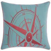 Mina Victory Compass Indoor/Outdoor Square Throw Pillow in Aqua/Coral