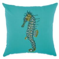 Mina Victory Seahorse Indoor/Outdoor Square Throw Pillow in Turquoise