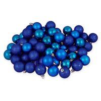 96-Count 4-Finish Christmas Ball Ornaments in Lavish Blue