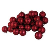 12-Piece Shiny Christmas Ball Ornament in Burgundy