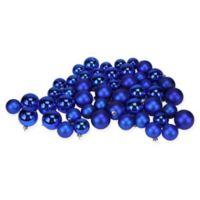 50-Piece Shiny & Matte Christmas Ball Ornaments in Lavish Blue