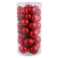 50-Piece Shiny & Matte Christmas Ball Ornaments in Red