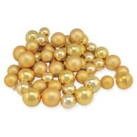 50-Piece Shiny & Matte Christmas Ball Ornaments in Gold