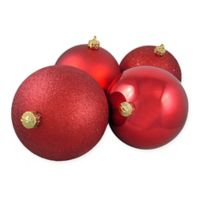 Northlight 4-Pack 6-Inch Christmas Ball Ornaments in Red