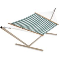 Castaway Olef in Large Quilted Hammock in Green and White