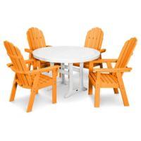 POLYWOOD Vineyard Adirondack 5-Piece Nautical Trestle Dining Set in Orange/White